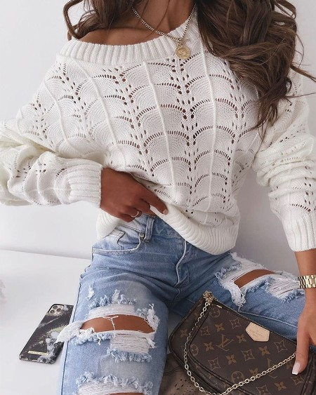 Long Sleeve Knit Hollow Out Sweater