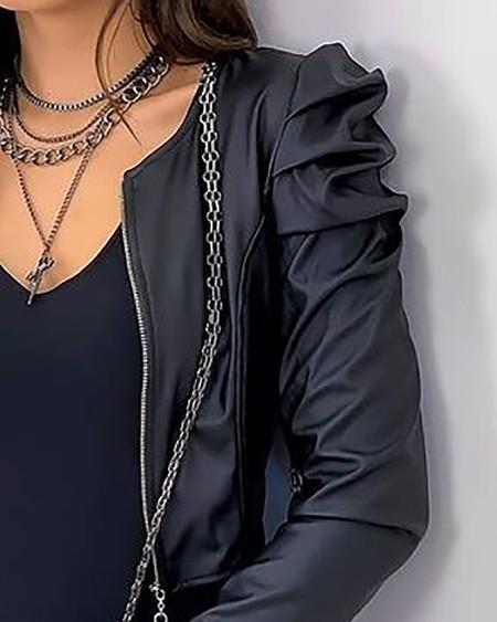 Puff Sleeve PU Leather Zipper Front Coat