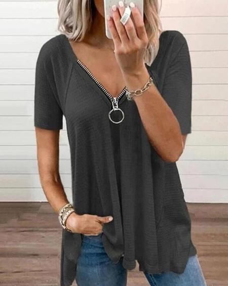 Plain V Neck Zipper Design Ruffle Top