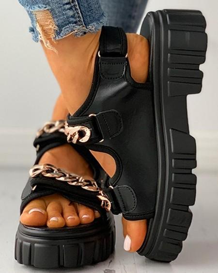 Velcro Chain Decor Platform Sandals