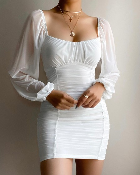 Lantern Sleeve Ruched Square Neck Bodycon Dress