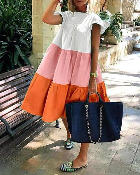 Colorblock Ruched Bell Sleeve Casual Dress