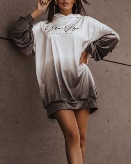Ombre Letter Print Drop Shoulder Hooded Sweatshirt Dress