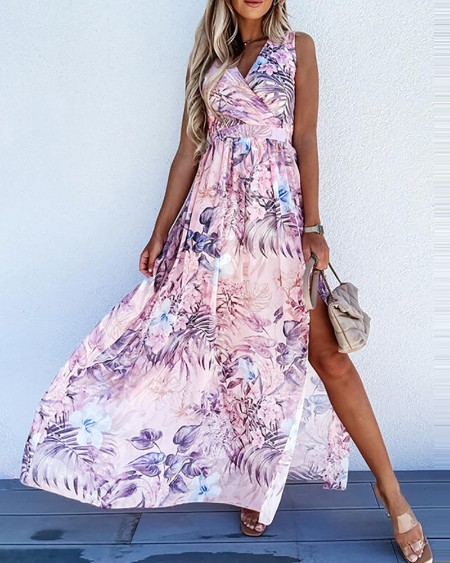 Tropica Print Ruched Slit Casual Maxi Dress