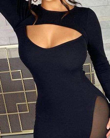 Contrast Mesh Cutout Front Long Sleeve Skinny Dress