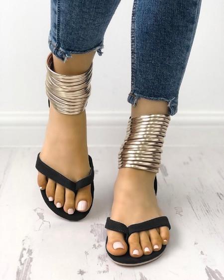 Metallic Embellished Flip Flops Platform Sandals