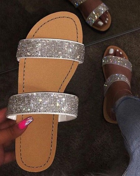 Crystal Glitter Shinny Double Bandages Slide Slippers