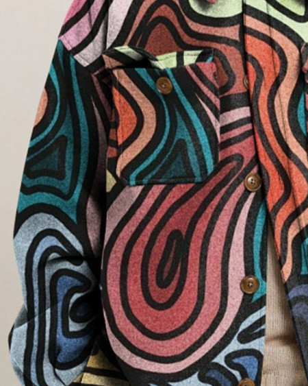 Mens Fashion All Over Print Long Sleeve Button Up Pocket Jacket