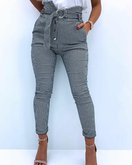 Plaid Print Button Fly O-Ring Buckle Belted Skinny Pants