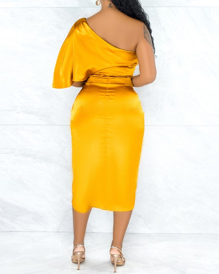 One Shoulder Satin Ruched Party Dress
