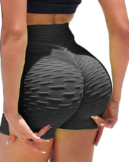 High Waist Booty Shorts Butt Lifting Bubble Textured Yoga Shorts