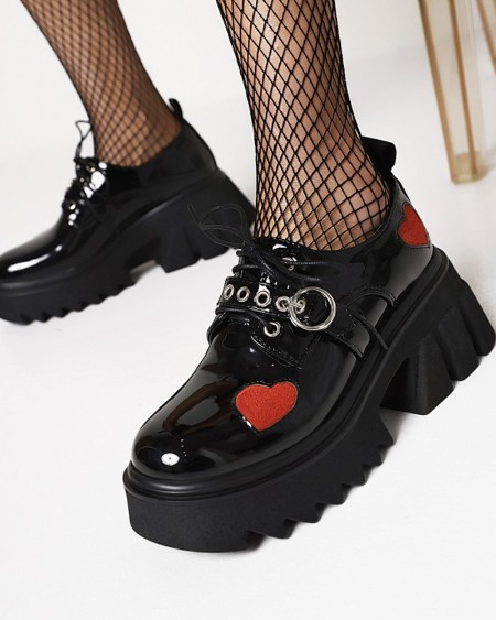 Chic Womens Side Heart Lace-up Round Toe Shiny Finish Platform Shoes