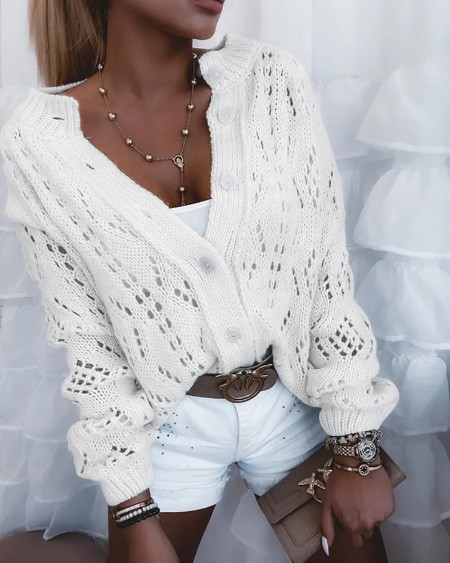 Hollow Out Logn Sleeve Button Up Cardigan