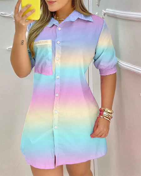 Colorblock Pocket Design Buttoned Shirt Dress