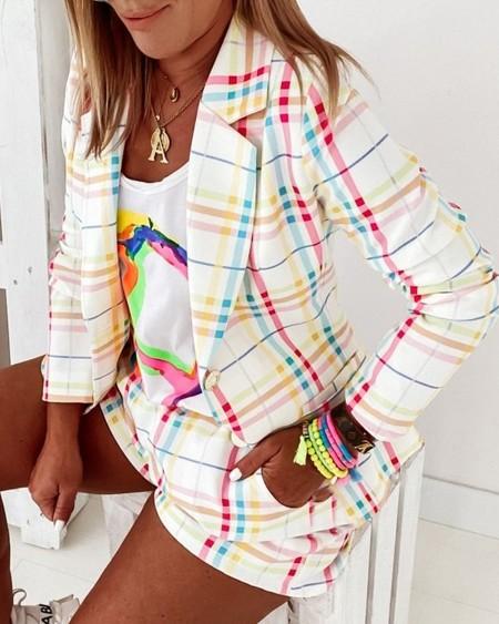 Colorful Plaid Lapel Collar Double Button Blazer & Shorts Set