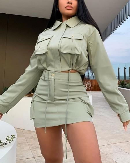 Solid Drawstring Flap Detail Crop Top & Skirt Set