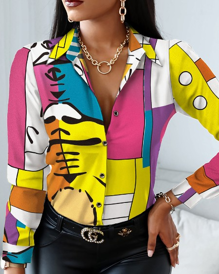 All Over Print Long Sleeve Button Up Top