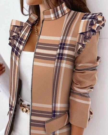 Plaid Print Ruffles Long Sleeve Zipper Up Coat