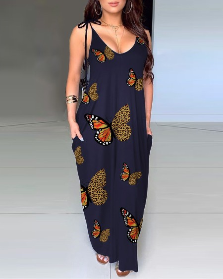 Pocket Design Butterfly Cheetah Print Maxi Dress