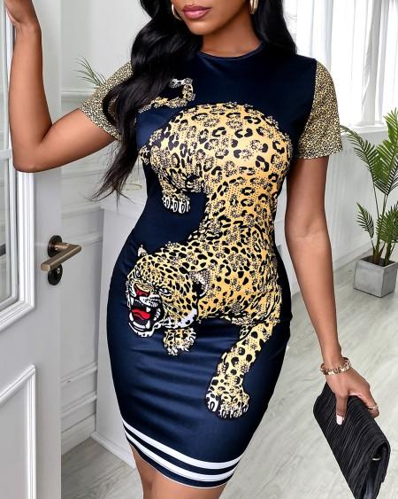 Tiger Print Short Sleeve Casual Dress