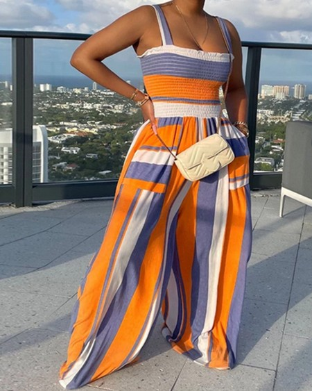 Colorblock Striped Shirred Detail Cami Wide Leg Jumpsuit