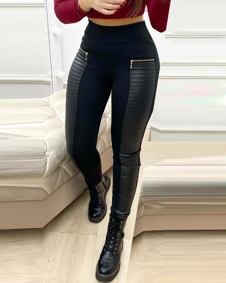 PU Leather Contrast Zipper Design Skinny Leg Pants Woman High Waist Skinny Ankle Pants
