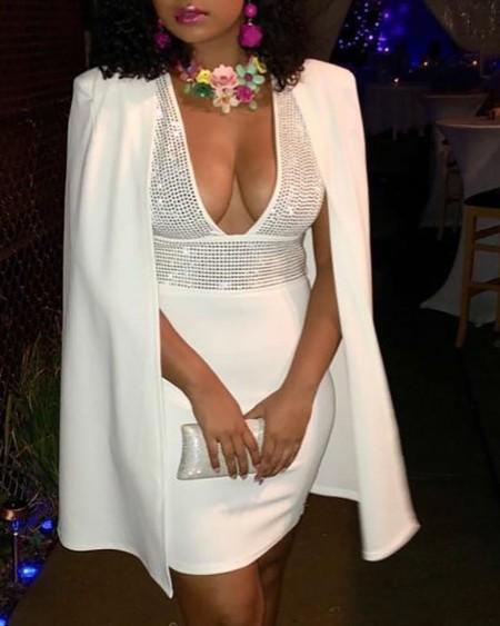 Studded Plunge Cape Design Bodycon Dress