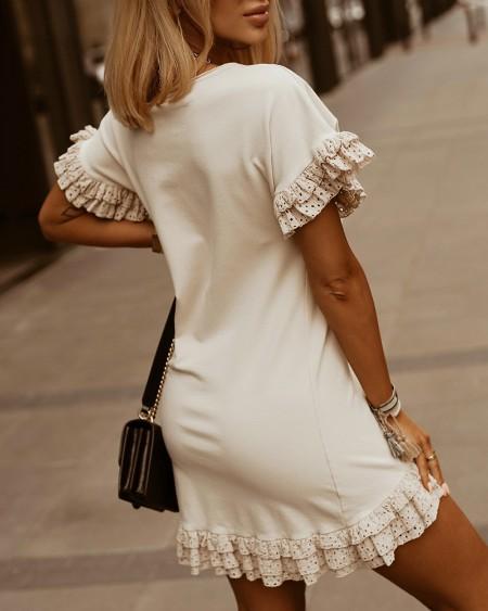 Solid Lace Contrast Short Sleeve Slim Mini Dress