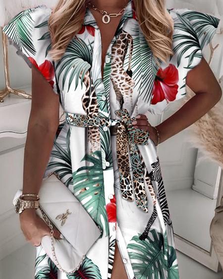 Tropical Print Flutter Sleeve Button Up Tied Shirt Dress