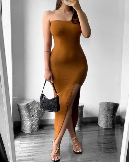 High Slit Bandeau Skinny Maxi Dress