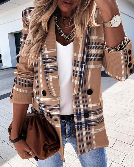 Plaid Print Long Sleeve Double Breasted Blazer Coat