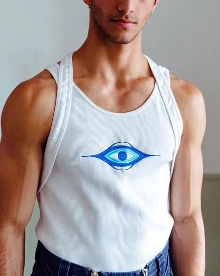 Splicing Eye Embroidery Sleeveless Tank Top