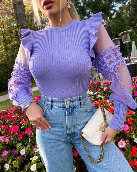 Contrast Mesh Sleeve Frill Hem Sweater