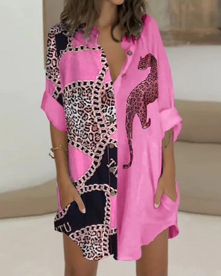 Leopard Print Colorblock Buttoned Shirt Dress