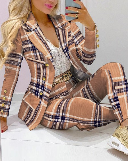 Plaid Print Lapel Collar Double Breasted Blazer & Tailored Pants Set