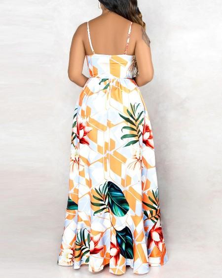 Tropical Graphic Print Sleeveless Maxi Dress