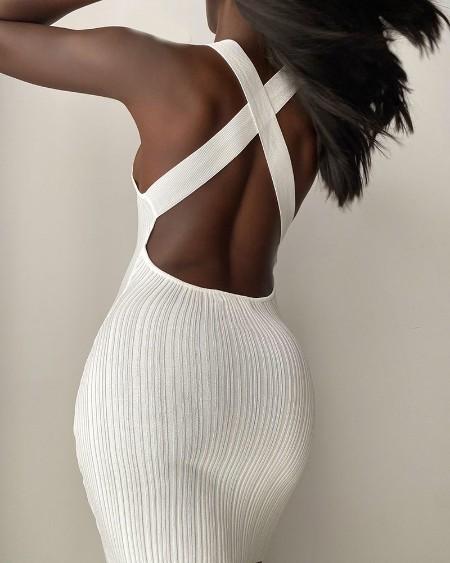 Sleeveless Crisscross Backless Bodycon Dress