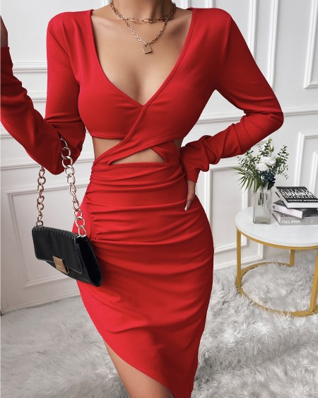 Solid Cut-Out V-Neck Ruched Bodycon Dress