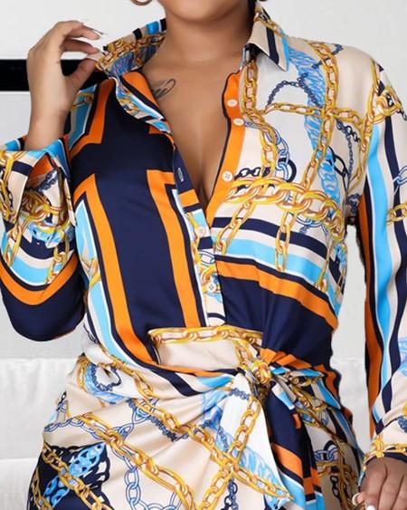 Chain Twist Waist Button Front Print Dress