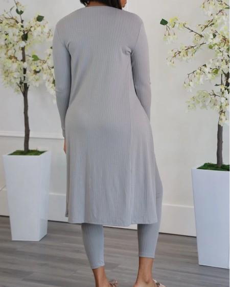 Sleeveless Crop Top & Drawstring High Waist Pants Set With Coat