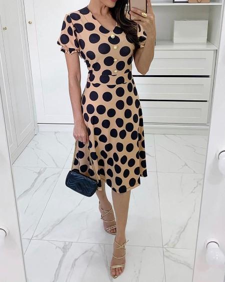 Polkadot Print Button Decor Casual Dress