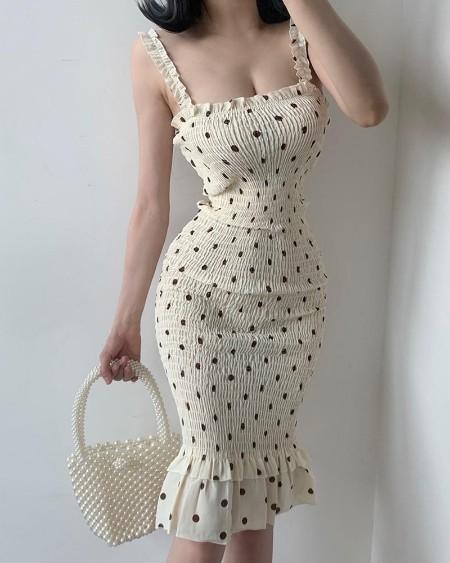 Spaghetti Strap Polkadot Print Shirred Mermaid Dress
