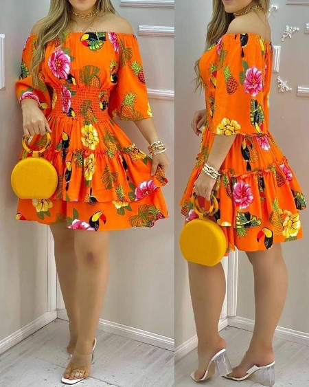 All Over Fruit Print Off Shoulder Casual Dress