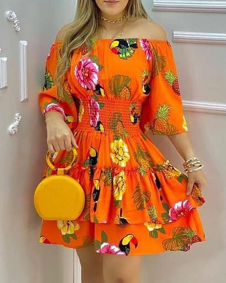 All Over Fruit Print Off Shoulder Casual Dress