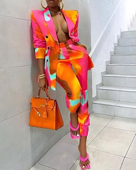 Colorblock Buttoned Blazer Coat & Pants Sets