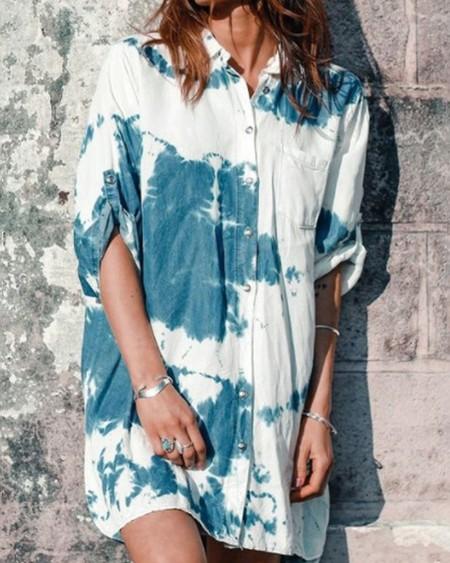 Tie Dye Long Sleeve Shirt Mini Dress