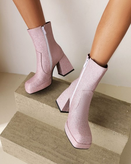 Womens Square Toe Sequin High Heel Boots