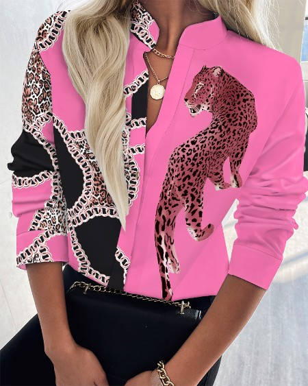Leopard Print V-Neck Button Front Long Sleeve Blouse