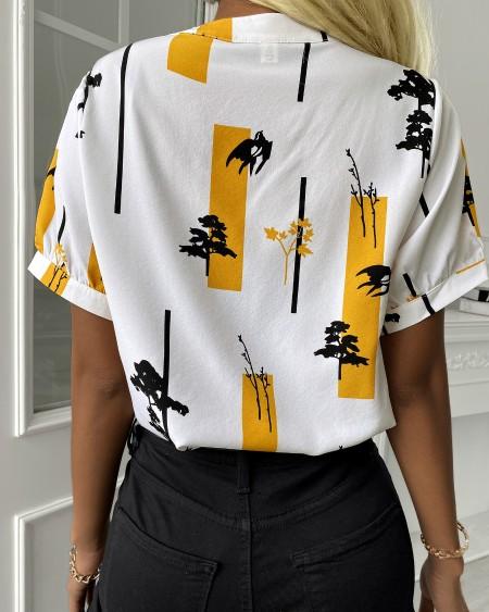 Colorblock Short Sleeve Casual Shirt