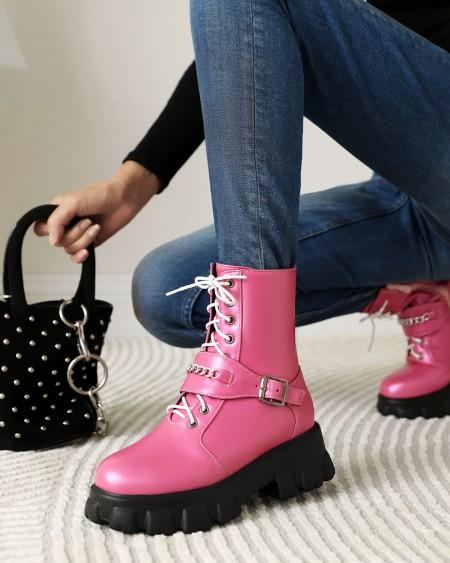 Womens Strap Decoration Round Toe Shiny Finish Lace-up Martin Boots